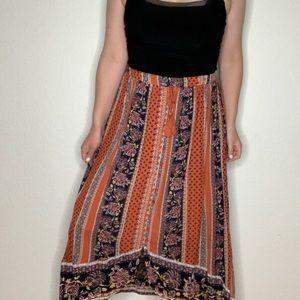 Style & Co Bohemian Floral Button Front Midi Skirt